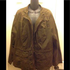 Lane Bryant Casual Jacket Drawstring Zipper Front